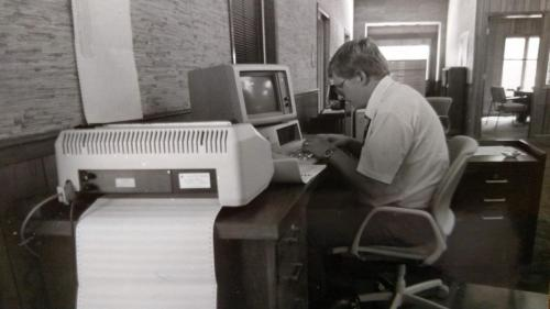 Rod at old computer in the 80s